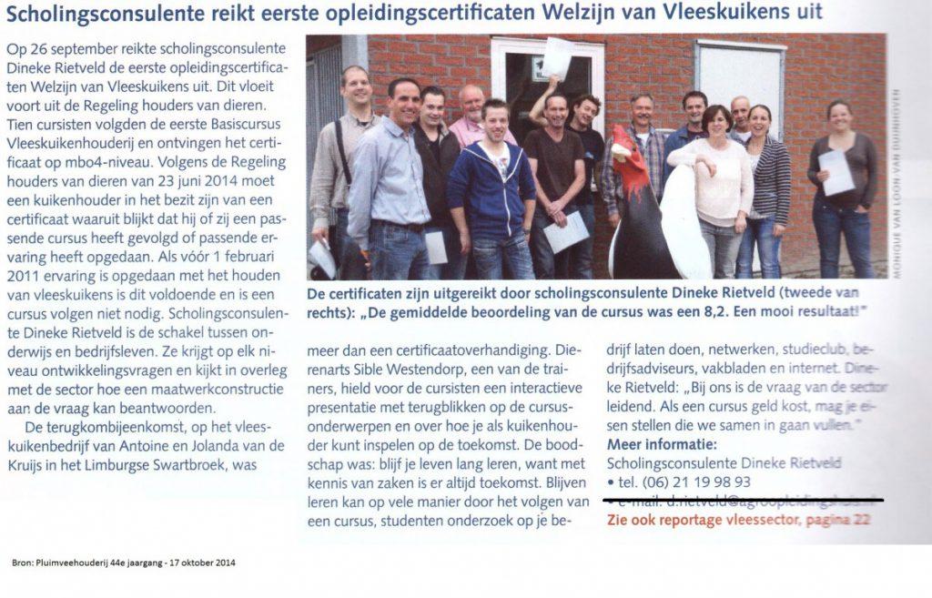 Afbeelding Artikel Pluimveehouderij 2014 Uitreiking certificaten Basiscursus Vleeskuikenhouderij
