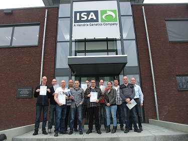 Foto deelnemers Basiscursus voor broederijmedewerkers incompany bij ISA