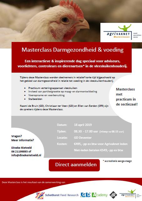 Flyer Masterclass Darmgezondheid & Voeding Vleeskuikenhouderij