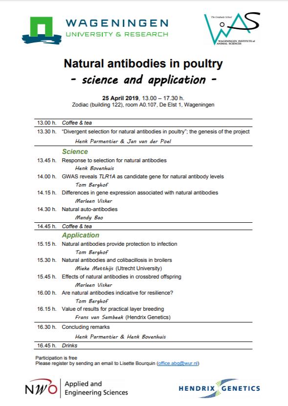 Programma Seminar Natrural Antibodies in Poultry